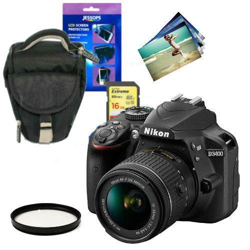 Nikon D3400 Digital SLR in Black with 18-55mm f/3.5-5.6 AF-P VR Lens and Accessories Bundle