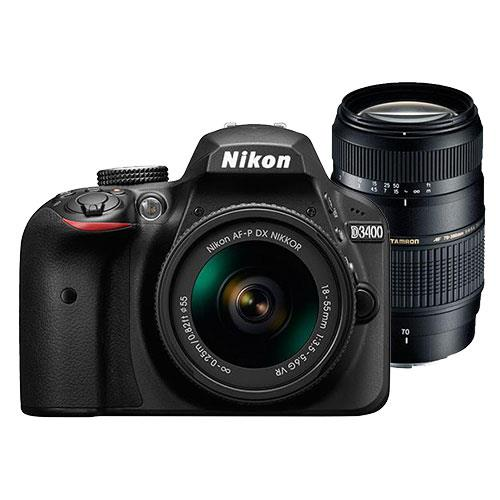Nikon D3400 Digital SLR in Black with 18-55mm f/3.5-5.6 AF-P VR Lens and Tamron AF 70-300mm f/4-5.6 Di LD Lens