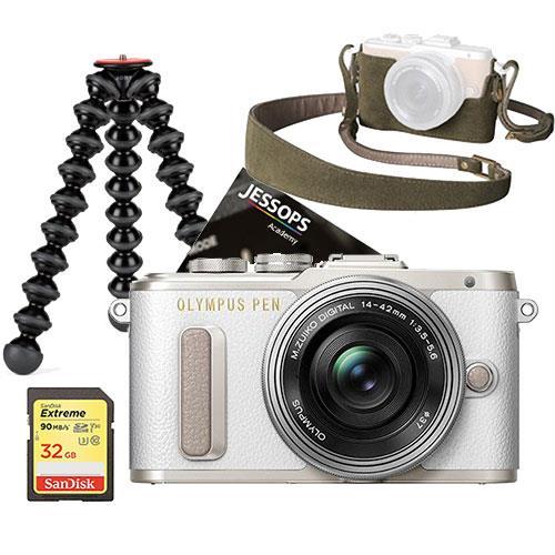 Olympus PEN E-PL8 Mirrorless Camera in White with 14-42mm EZ Lens Blogger Kit