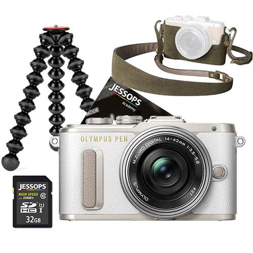 Olympus PEN E-PL8 Mirrorless Camera in White with 14-42mm EZ Lens Blogger Kit