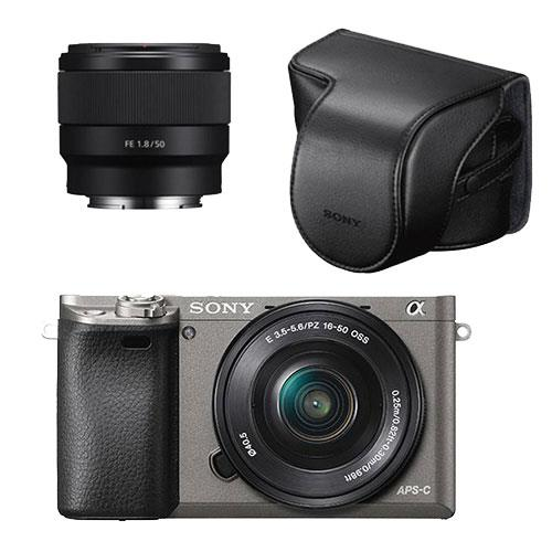 Sony A6000 Mirrorless Camera in Grey with 16-50mm and 50mm Lenses plus Case