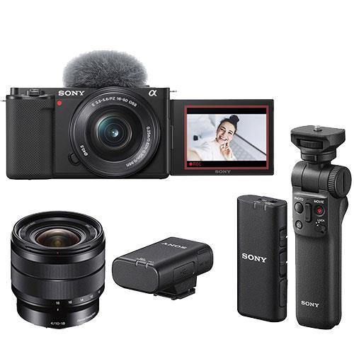 Sony ZV-E10 Mirrorless Vlogger Camera with 16-50mm Lens Creator Kit and Sony 10-18mm Lens