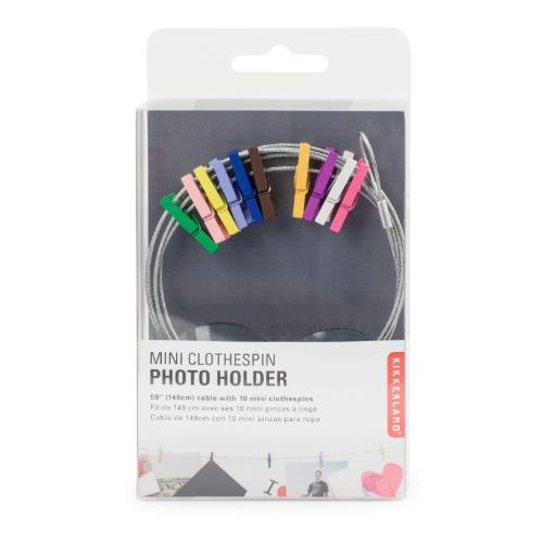 Kikkerland Photo Holder Wire with Multi Colour Pegs
