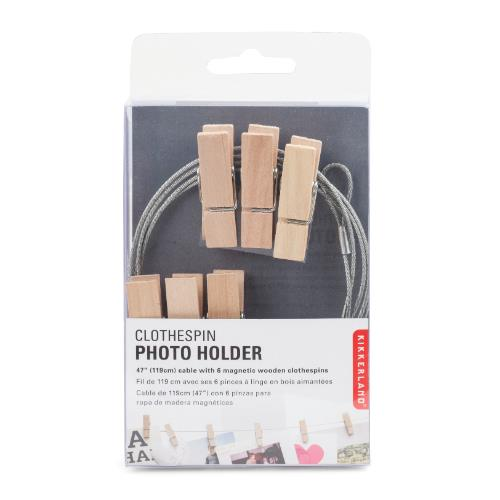 Kikkerland Photo Holder Wire with Wood Pegs